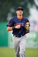 Lowell Spinners right fielder Tyler Dearden (60) jogs to the dugout in between innings during game against the Batavia Muckdogs on July 14, 2018 at Dwyer Stadium in Batavia, New York.  Lowell defeated Batavia 8-4.  (Mike Janes/Four Seam Images)