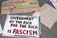 Protest signs cover the ground in Zuccotti Park during the Occupy Wall Street demonstration in New York City, New York.