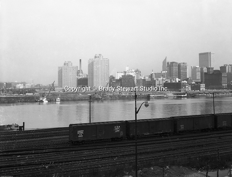 Pittsburgh PA:  View of the Pittsburgh Skyline and Gateway Center Construction.  View of the early stages of the Gateway Center and river construction
