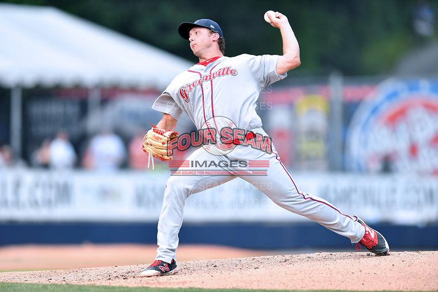 Greenville Drive starting pitcher Robby Sexton (25) delivers a pitch during a game against the Asheville Hippies at McCormick Field on June 29, 2017 in Asheville, North Carolina. The Drive defeated the Tourists 9-6. (Tony Farlow/Four Seam Images)