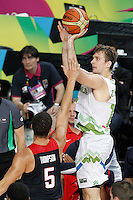 Slovenia's Zoran Dragic (r) and USA's Klay Thompson during 2014 FIBA Basketball World Cup Quarter-Finals match.September 9,2014.(ALTERPHOTOS/Acero)