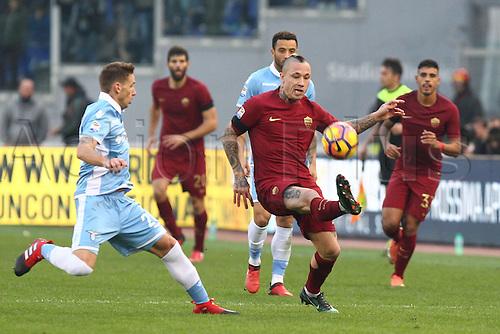 04.12.2016. Stadium Olimpico, Rome, Italy.  Serie A football league. Derby Match SS Lazio versus AS Roma. Radja Nainggolan controls the difficult ball