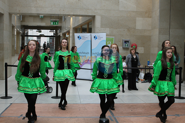 Dancers from McCarthy School of Irish Dance perform a dance display in aid of Down Syndrome Ireland in the Laurence Centre...(Photo credit should read Jenny Matthews/NEWSFILE)...