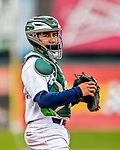 25 July 2017: Vermont Lake Monsters catcher Iolana Akau looks back to the dugout during a game against the Tri-City ValleyCats at Centennial Field in Burlington, Vermont. The Lake Monsters defeated the ValleyCats 11-3 in NY Penn League action. Mandatory Credit: Ed Wolfstein Photo *** RAW (NEF) Image File Available ***