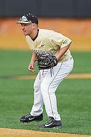 Wake Forest Demon Deacons second baseman Joey Rodriguez (7) on defense against the Marshall Thundering Herd at Wake Forest Baseball Park on February 17, 2014 in Winston-Salem, North Carolina.  The Demon Deacons defeated the Thundering Herd 4-3.  (Brian Westerholt/Four Seam Images)