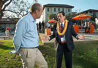 From left, Jonathan Veitch and David Louie '73.<br /> Occidental College alums enjoy a long weekend of activities and festivities both on campus and off during Alumni Reunion Weekend, June 21, 2013.<br /> (Photo by Marc Campos, Occidental College Photographer)