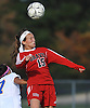 Camryn Monfort #15 of Syosset makes a header during a Nassau County Class AA varsity girls soccer quarterfinal against host East Meadow High School on Tuesday, Oct. 25, 2016. Syosset won by a score of 2-1.