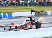 May 31, 2014; Englishtown, NJ, USA; NHRA top fuel driver J.R. Todd during qualifying for the Summernationals at Raceway Park. Mandatory Credit: Mark J. Rebilas-