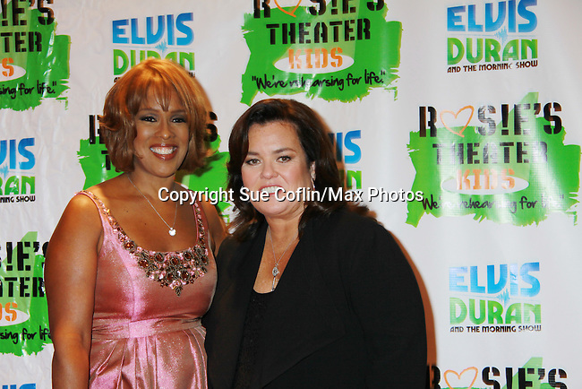 "Gayle King poses with All My Children's Rosie O'Donnell ""Naomi - The Maid"" (taking over the Oprah studio) hosted Rosie's Building Dreams for Kids Gala benefitting Rosie's Theater Kids on September 19, 2011 at New York Marriott Marquis, New York City, New York. (Photo by Sue Coflin/Max Photos)"