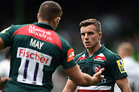 George Ford of Leicester Tigers speaks with team-mate Jonny May. Aviva Premiership match, between Leicester Tigers and Bath Rugby on September 3, 2017 at Welford Road in Leicester, England. Photo by: Patrick Khachfe / Onside Images