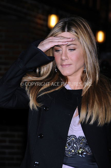 WWW.ACEPIXS.COM . . . . .  ....December 17 2008, New York City....Actress Jennifer Aniston made an appearance at the 'Late Show with David Letterman' on December 17 2008 in New York City....Please byline: AJ SOKALNER- ACE PICTURES.... *** ***..Ace Pictures, Inc:  ..tel: (646) 769 0430..e-mail: info@acepixs.com..web: http://www.acepixs.com