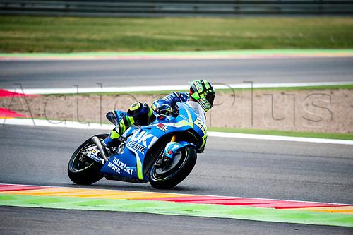 22nd September 2017, MotorLand Aragon, Alcaniz, Spain; MotoGP of Aragon, Friday free practice; Andrea Iannone of the SUZUKI ECSTAR Motogp Team rounds the bend