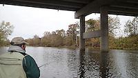 NWA Democrat-Gazette/FLIP PUTTHOFF <br /> Tonkinson drifts Oct. 30, 2015 under the Interstate 49 bridge over the Elk River.