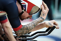 Picture by Alex Whitehead/SWpix.com - 11/08/2016 - 2016 Rio Olympic Games - Track Cycling - Olympic Velodrome, Rio de Janeiro, Brazil - Great Britain's Sir Bradley Wiggins prepares to compete in the Men's Team Pursuit qualifying.