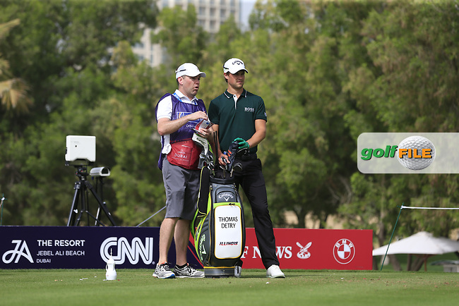 Thomas Detry (BEL) on the 4th tee during Round 1 of the Omega Dubai Desert Classic, Emirates Golf Club, Dubai,  United Arab Emirates. 24/01/2019<br /> Picture: Golffile | Thos Caffrey<br /> <br /> <br /> All photo usage must carry mandatory copyright credit (&copy; Golffile | Thos Caffrey)