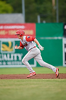 Williamsport Crosscutters left fielder Ben Pelletier (35) runs to third base during a game against the Batavia Muckdogs on June 22, 2018 at Dwyer Stadium in Batavia, New York.  Williamsport defeated Batavia 9-7.  (Mike Janes/Four Seam Images)
