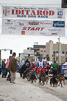 Google Earth leaves the ceremonial start line with an Iditarider at 4th Avenue and D street in downtown Anchorage, Alaska during the 2015 Iditarod race. Photo by Jim Kohl/IditarodPhotos.com