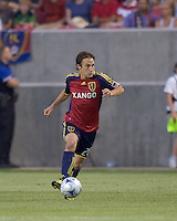 Real Salt Lake midfielder Ned Grabavoy (20) brings ball out of defensive zone. Salt Lake Real defeated Toronto FC, 3-0, at Rio Tinto Stadium on June 27, 2009.