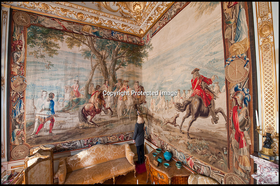 BNPS.co.uk (01202 558833)<br /> Pic: PhilYeomans/BNPS<br /> <br /> House Manager Kate Ballenger inspects the washed tapestry.<br /> <br /> A priceless 300-year-old tapestry depicting the 'finest hour' of Winston Churchill's most illustrious ancestor has undergone a major restoration for the first time.<br /> <br /> The Bouchain III tapestry hangs at Blenheim Palace and tells the story of the first Duke of Marlborough's Final victory over the French forces of Louis 14th in the War of the Spanish Succession.<br /> <br /> The Duke, John Churchill, was a brilliant military strategist and, much like Winston Churchill two centuries later, led an Allied force in victory in Europe. <br /> <br /> He considered Bouchain as his 'finest hour' because of his successful assault on a 'impregnable' enemy fortress finally finished the war.<br /> <br /> The outcome of the war is considered a turning point in history, signalling the end of France's ambitions to rule Europe at the time.<br /> <br /> To mark his achievement the Duke commissioned 10 incredibly detailed tapestries to be made. They have been displayed at Blenheim Palace ever since.<br />  <br /> The giant wall hangings, that are 25ft wide and 15ft tall, are made of wool and silk and were woven in the Brussels workshop of the Flemish weaver, Judocus de Vos.