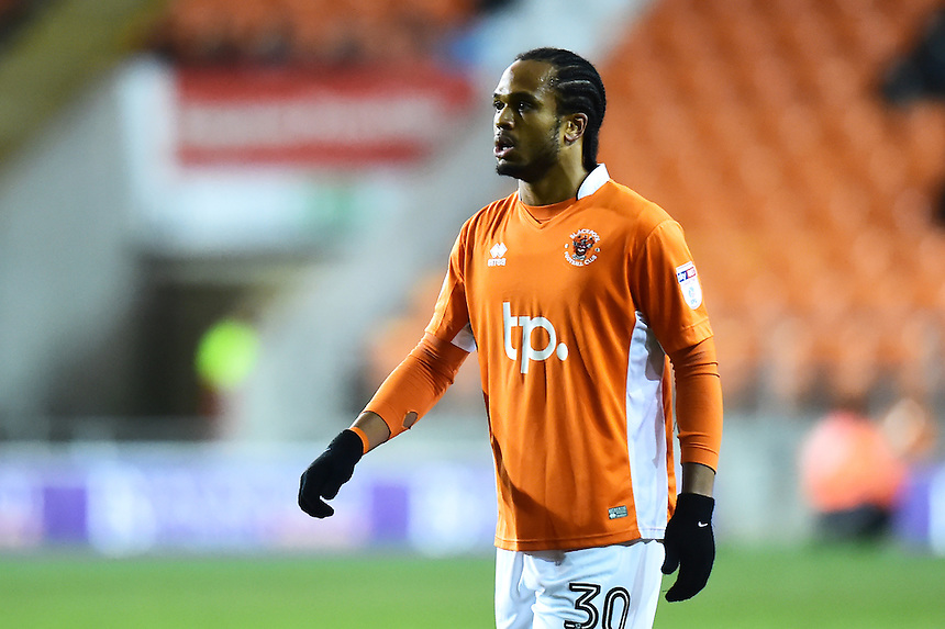Blackpool's Nathan Delfouneso looks on<br /> <br /> Photographer Richard Martin-Roberts/CameraSport<br /> <br /> The EFL Sky Bet League Two - Blackpool v Crawley Town - Tuesday 7th February 2017 - Bloomfield Road - Blackpool<br /> <br /> World Copyright &copy; 2017 CameraSport. All rights reserved. 43 Linden Ave. Countesthorpe. Leicester. England. LE8 5PG - Tel: +44 (0) 116 277 4147 - admin@camerasport.com - www.camerasport.com