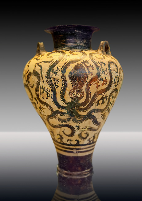 Three handled Mycenaean  Palace Style amphora with three large octopuses within a marinescape of rocks and seaweed. A Mycenaean imitation of Minoan Marine Style. From the Mycenaean cemetery of Argive Prosymna, tomb 2, Greece. 15th Century BC. Cat No 6725 Athens Archaeological Museum.