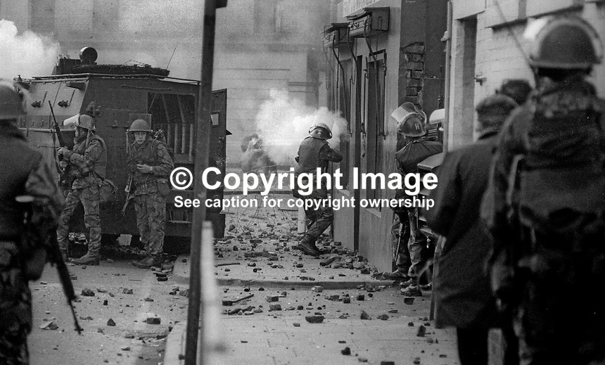 Bloody Sunday, Derry, Londonderry, 30 January 1972 - British soldiers in action that day when 26 civilians were shot, 13 fatally, and one more who died two months later. 20160130003<br />