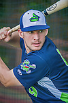 8 July 2014: Vermont Lake Monsters infielder Max Kuhn takes batting practice prior to a game against the Lowell Spinners at Centennial Field in Burlington, Vermont. The Lake Monsters rallied with two runs in the 9th to defeat the Spinners 5-4 in NY Penn League action. Mandatory Credit: Ed Wolfstein Photo *** RAW Image File Available ****