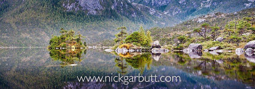 Lake surrounded by temperate rainforest with reflection. Campania Island, Great Bear Rainforest, British Columbia, Canada.