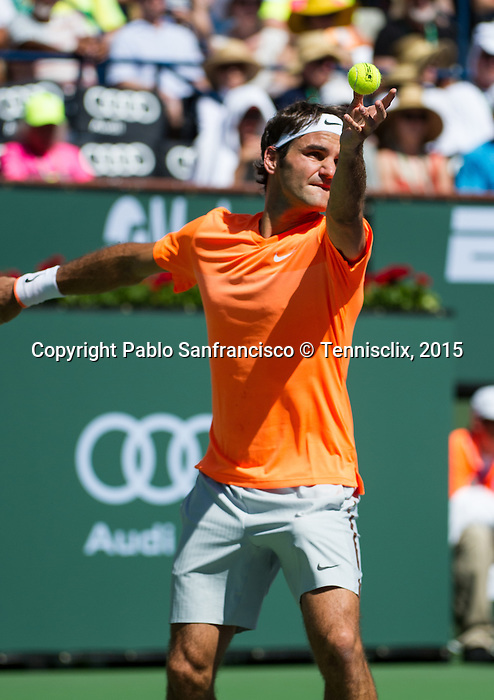 Roger Federer (SUI) during his semifinal match against Milos Raonic (CAN). Federer advanced to Sunday's final after defeating Raonic 75 64 at the BNP Parisbas Open in Indian Wells, CA on March 21, 2015.