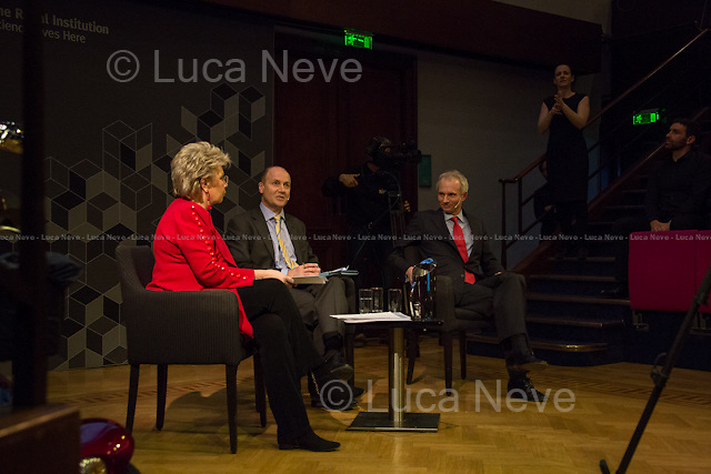 (From L to R) Viviane Reding, George Parker and David Lidington. <br /> <br /> London, 06/02/2014. Today, the 44th &quot;Citizens' Dialogue&quot; took place at The Royal Institution (RI) in London hosted by Viviane Reding (Luxembourg politician, currently serving as the European Commission Vice-President and European Commissioner for Justice, Fundamental Rights and Citizenship; member of the European People's Party, EPP) and David Lidington (British Minister for Europe; member of the Conservative Party). About 400 people, moderated by Financial Times Political Editor George Parker, discussed with the two politicians about the future of Europe, citizens' rights, the recovery from the economic crisis, present and future of the UK inside the European Union.<br /> <br /> For more information and for the video of the event please click here: http://bit.ly/19boyhd