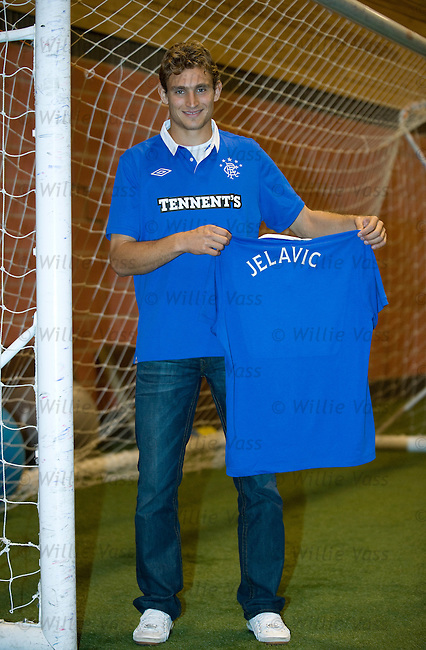 Nikica Jelavic at Murray Park after signing a four year deal to join Rangers