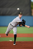 Bradenton Marauders starting pitcher Gavin Wallace (49) delivers a pitch during a game against the Charlotte Stone Crabs on August 6, 2018 at Charlotte Sports Park in Port Charlotte, Florida.  Charlotte defeated Bradenton 2-1.  (Mike Janes/Four Seam Images)