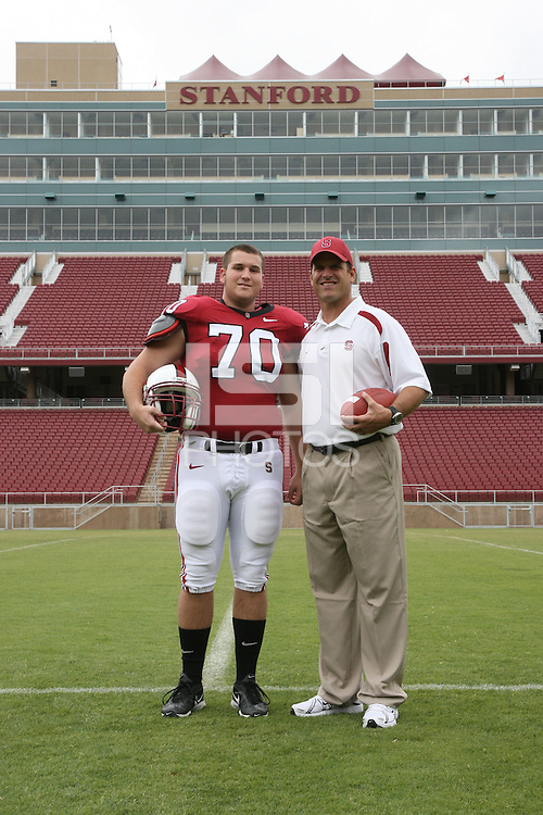 6 August 2007: Bert McBride and head coach Jim Harbaugh during picture day at Stanford Stadium in Stanford, CA.