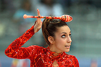 Almudena Cid of Spain balances club on head during All Around final at  2008 European Championships at Torino, Italy on June 6, 2008.  Photo by Tom Theobald.