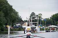 Henley-on-Thames. United Kingdom.  2017 Henley Royal Regatta, Henley Reach, River Thames. <br /> <br /> Drone Port, attached tho the booms, <br /> <br /> {TIME}  Thursday  29/06/2017<br /> <br /> [Mandatory Credit. Intersport Images].