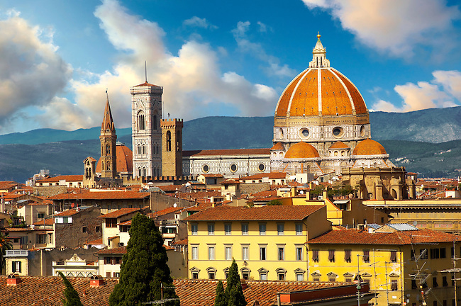 The belll tower and dome of the Florence Duomo Cathedral, Italy