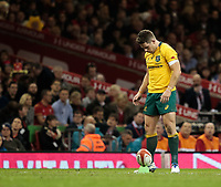 Australia's Bernard Foley lines up a conversion<br /> <br /> Photographer Simon King/CameraSport<br /> <br /> International Rugby Union - 2017 Under Armour Series Autumn Internationals - Wales v Australia - Saturday 11th November 2017 - Principality Stadium - Cardiff<br /> <br /> World Copyright &copy; 2017 CameraSport. All rights reserved. 43 Linden Ave. Countesthorpe. Leicester. England. LE8 5PG - Tel: +44 (0) 116 277 4147 - admin@camerasport.com - www.camerasport.com