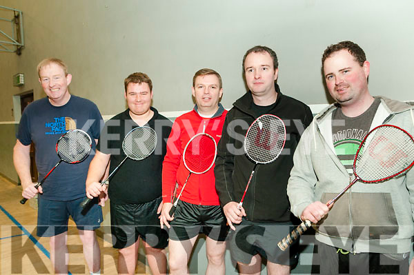 Newtownsandes  Badminton Open: Taking part in the Newtownsandes Co-op Invitation  Badminton Open tournament at the Moyvane Community Centre on Sunday last were Liam Harty, Causway, Lyle Reidy, Ballyheigue, Cathal O'Regan, Ballyheigue, Padraig Hanrahan, Moyvane & Pa Browne, Ballyheigue.