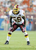 Landover, MD - August 25, 2007 --  Washington Redskins linebacker London Fletcher (59) calls the defensive signals in first half action against the Baltimore Ravens at FedEx Field in Landover, Maryland on Saturday, August 25, 2007..Credit: Ron Sachs / CNP