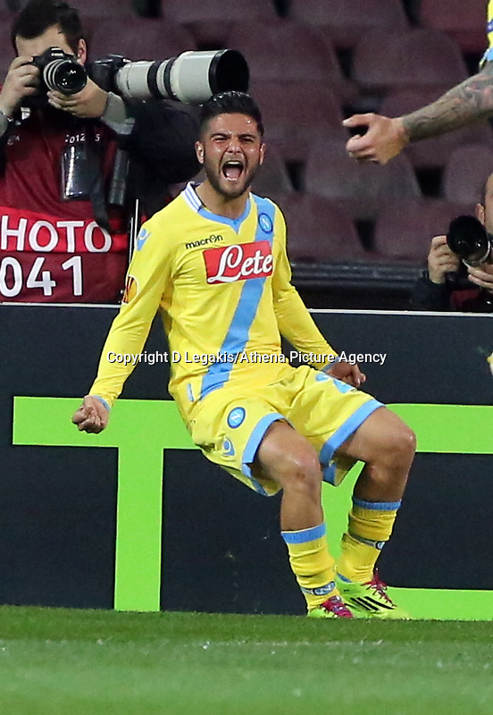 Thursday 27 February 2014<br /> Pictured: Lorenzo Insigne of Napoli celebrating his opening goal.<br /> Re: UEFA Europa League, SSC Napoli v Swansea City FC at Stadio San Paolo, Naples, Italy.