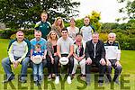 Front L-R Patrick O'Sullivan (Kerry County GAA chairman), Tom Keane, Darragh Keane, Mairin Egan, John Egan, Mary Egan, Tomas Hanafin (chairman of Comportas Peli John Egan) and Billy Broderick, Back L-R Colm 'Gooch' Cooper, Maireann Egan, Laoise Egan and Darren O'Sullivan at the launch of Comportas Peli John Egan U14 Invitational Turnament in the Brehon Hotel, Killarney last Saturday.