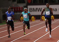 Roma Justin Gatlin  (s) batte  il campione olimpico Usain Bolt ( 3&deg;Sx) nei 100  metri  <br /> <br /> Justin Gatlin ( L) defeat Usain Bolt of Jamaica (3Lin  the 100m event at the Golden Gala IAAF Diamond League  at the Olympic stadium in Rome