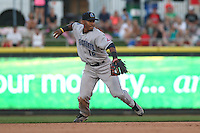 Lake County Captains shortstop Francisco Lindor #12 throws during a game against the Dayton Dragons at Fifth Third Field on June 25, 2012 in Dayton, Ohio. Lake County defeated Dayton 8-3. (Brace Hemmelgarn/Four Seam Images)