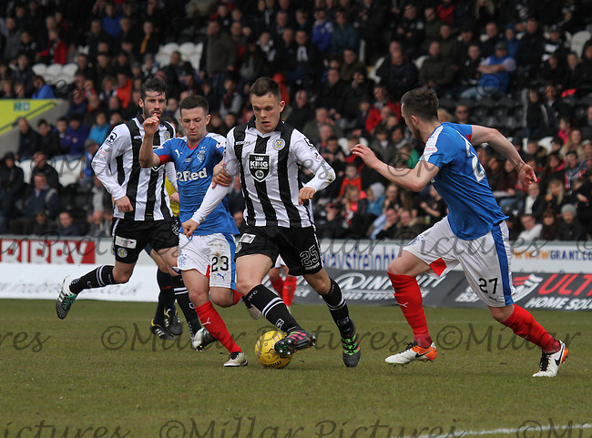 Lawrence Shankland being closely tracked by Jason Holt in the St Mirren v Rangers Scottish Professional Football League Ladbrokes Championship match played at the Paisley 2021 Stadium, Paisley on 1.5.16.