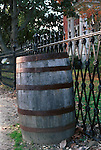 Whiskey barrels with ornate cast iron fence Colonial Williamsburg Virginia, Fine Art Photography by Ron Bennett, Fine Art, Fine Art photography, Art Photography, Copyright RonBennettPhotography.com ©