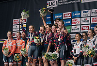 TTT winners Team Canyon-Sram on the podium<br /> <br /> UCI WOMEN&lsquo;S TEAM TIME TRIAL<br /> Ötztal to Innsbruck: 54.5 km<br /> <br /> UCI 2018 Road World Championships<br /> Innsbruck - Tirol / Austria