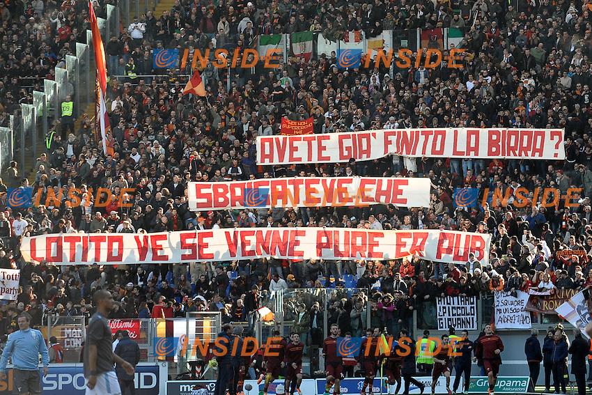 Striscione dei tifosi della Roma.<br /> Roma 09-02-2014 Stadio Olimpico. Football Calcio 2013/2014 Serie A. Lazio - AS Roma. Foto Antonietta Baldassarre / Insidefoto