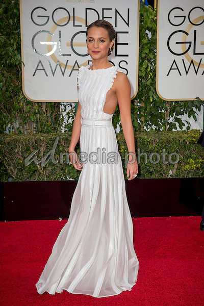 Alicia Vikander arrives at the 73rd Annual Golden Globe Awards at the Beverly Hilton in Beverly Hills, CA on Sunday, January 10, 2016. Photo Credit: HFPA/AdMedia