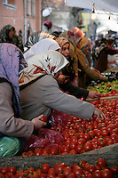 Women looking at tomatoes in a fresh fruit and vegetable market, Istanbul, Turkey