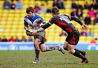 Luke Watson in possession of the ball. Guinness Premiership match between Saracens and Bath on February 28, 2010 at Vicarage Road in Watford, England. [Mandatory Credit: Patrick Khachfe/Onside Images]